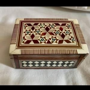 Egyptian wood inlay mother of pearl ring box